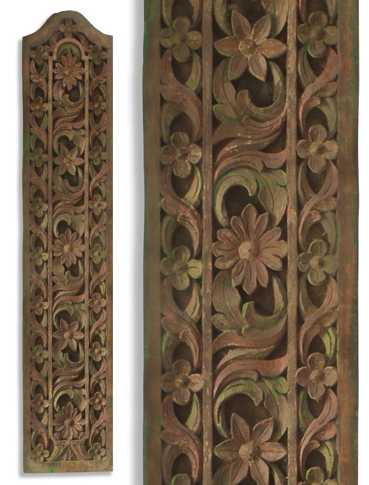 Matched Pair of Vintage Javanese Hand-Carved Frangipani Decorative Wall Panels