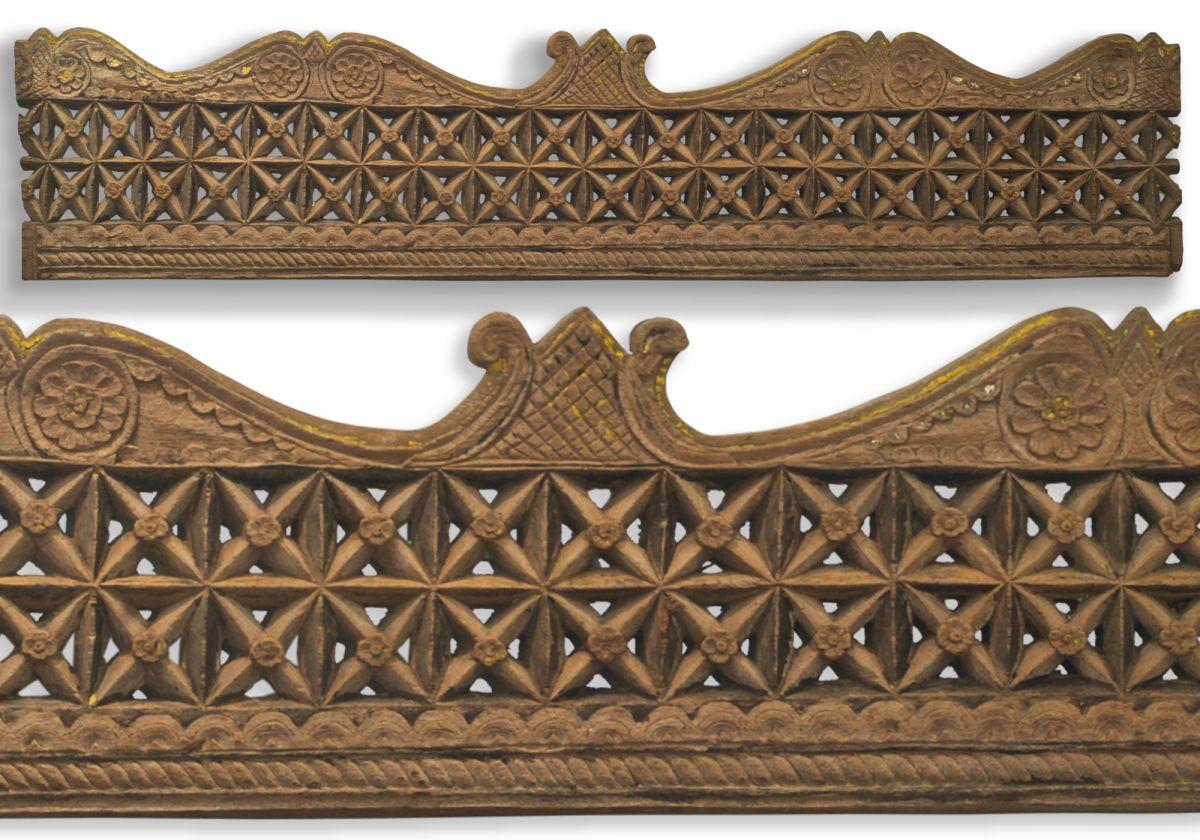 Vintage Javanese Hand-Carved Rustic Frangipani/Star Wall Panel