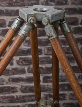 VINTAGE TIMBER TRIPOD &HEAVY DUTY CAST BRONZE HEAD & PLUMB BOB