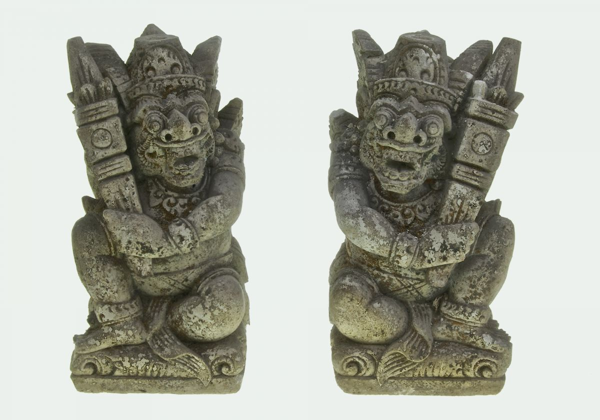 PAIR OF BALINESE HAND CARVED ENTRANCE GODS
