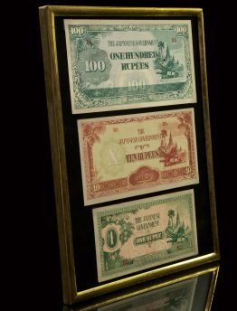 WWII JAPANESE OCCUPATION NOTES - FRAMED SET OF 3 RUPEE