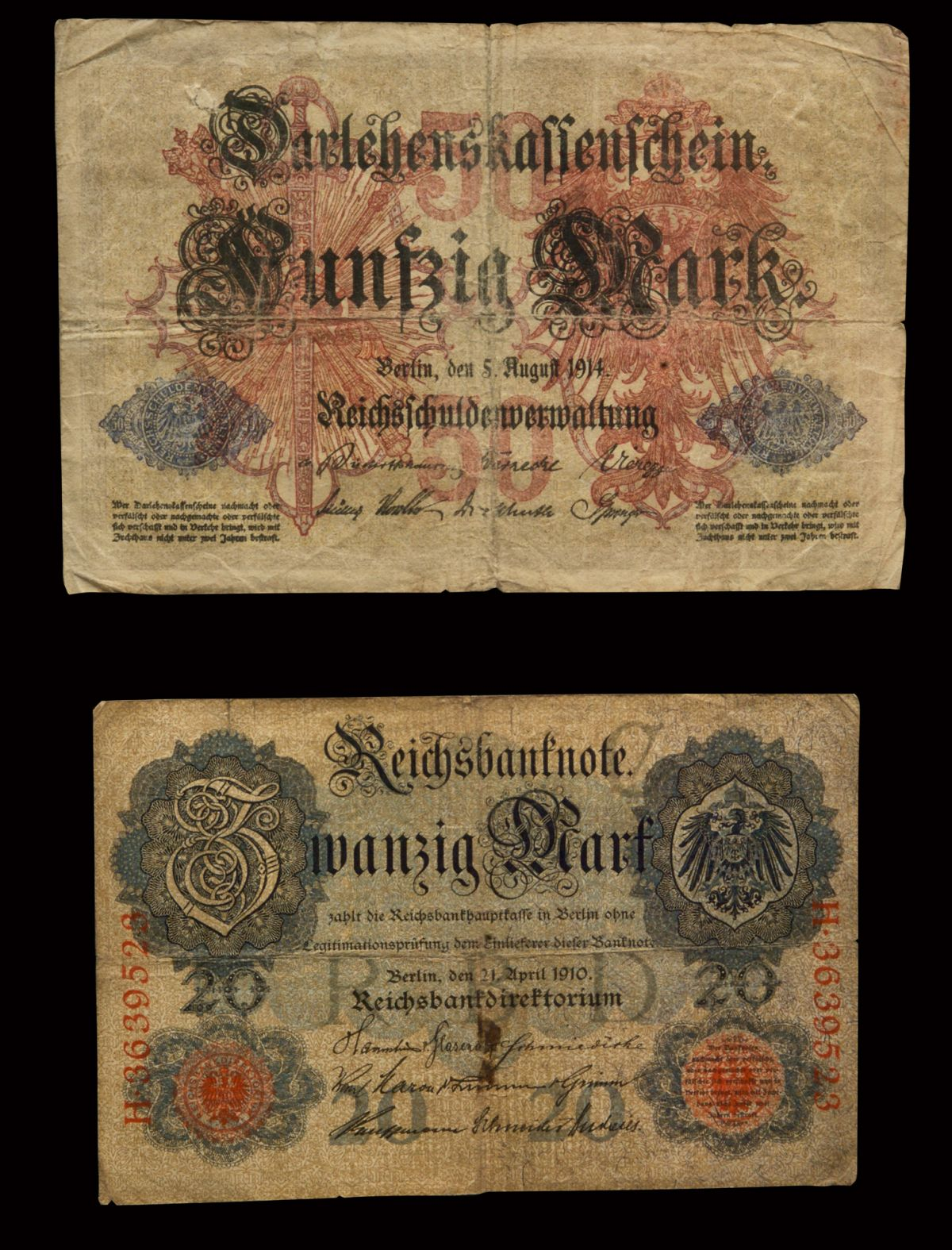 1910 & 1914 WWI GERMAN BANK NOTES IN FRAME