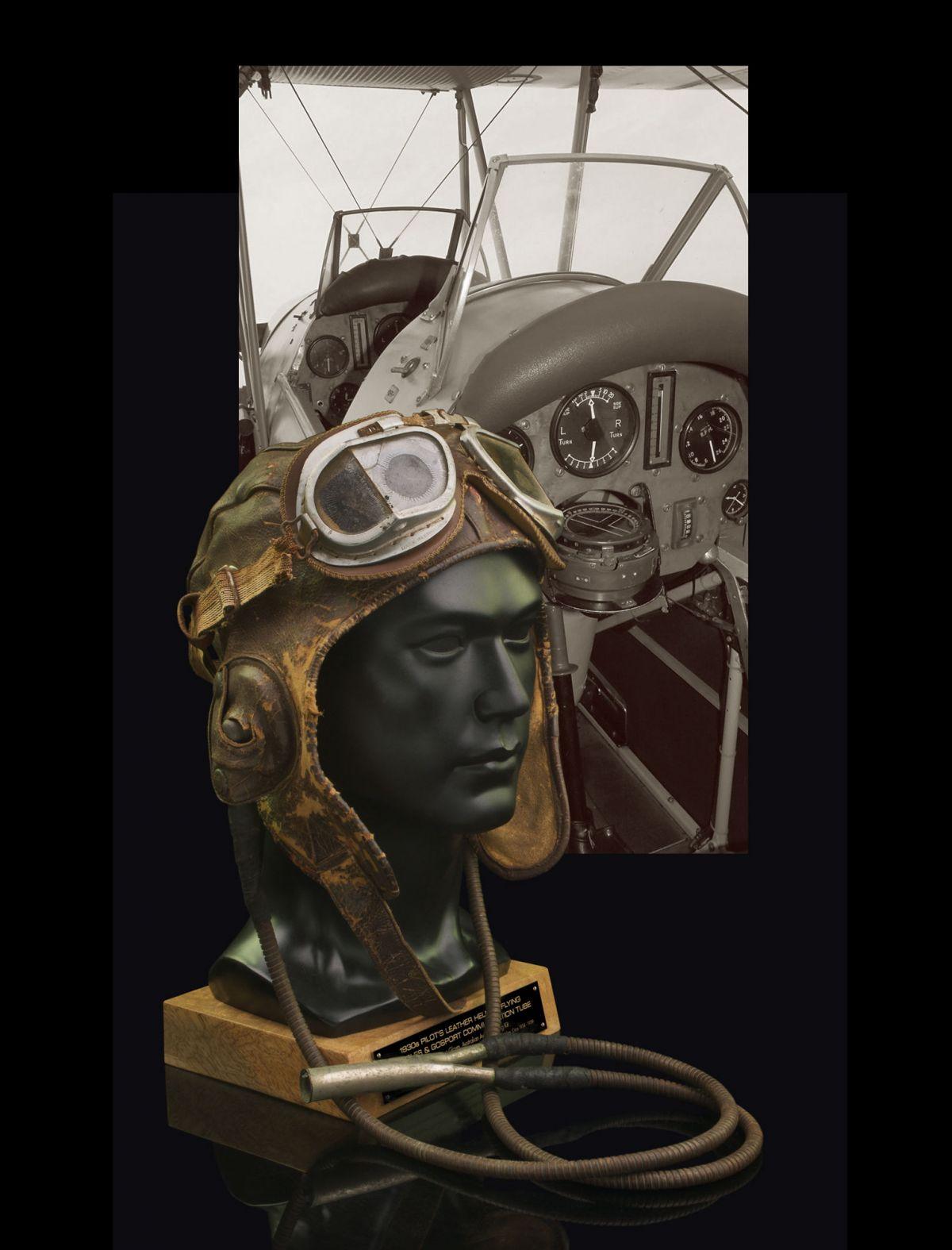 1930s RAAF FLYING HELMET, GOGGLES & GOSPORT TUBE COMMUNICATOR