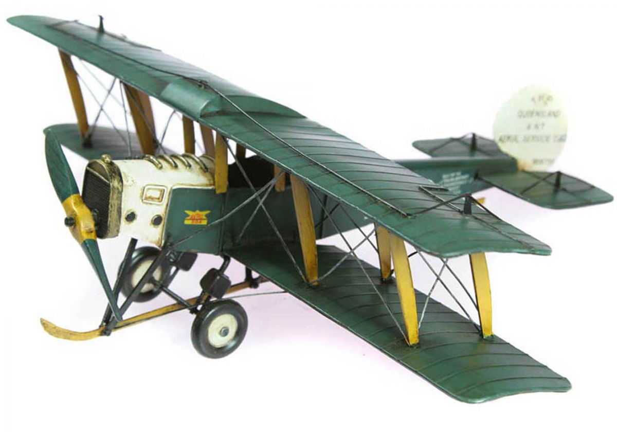 Queensland Avro hand-crafted tin/metal, retro-style biplane - 50cm wingspan