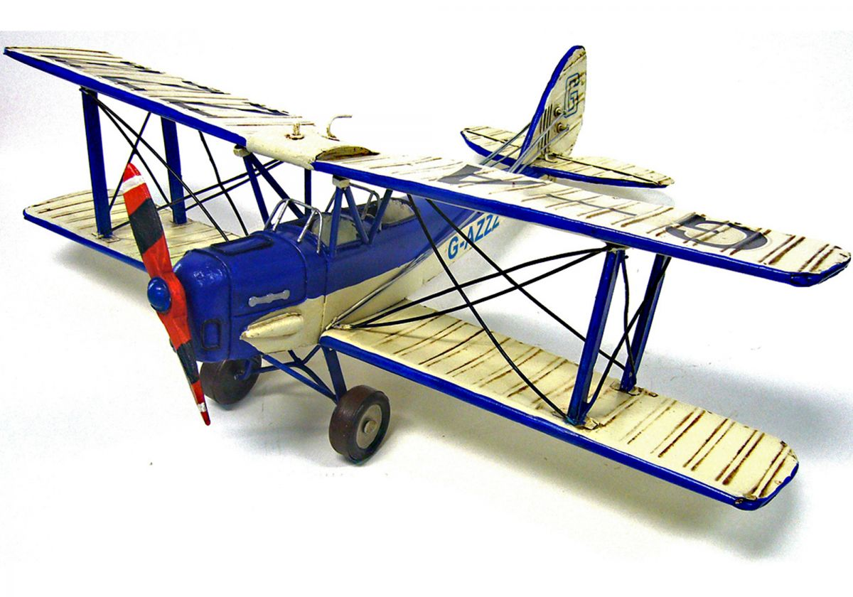 Hand-crafted tin/metal retro-style Blue & White Tiger Moth - 50cm wingspan