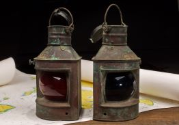 VINTAGE MATCHING PAIR OF CHINESE PORT & STARBOARD COPPER & BRASS LANTERNS