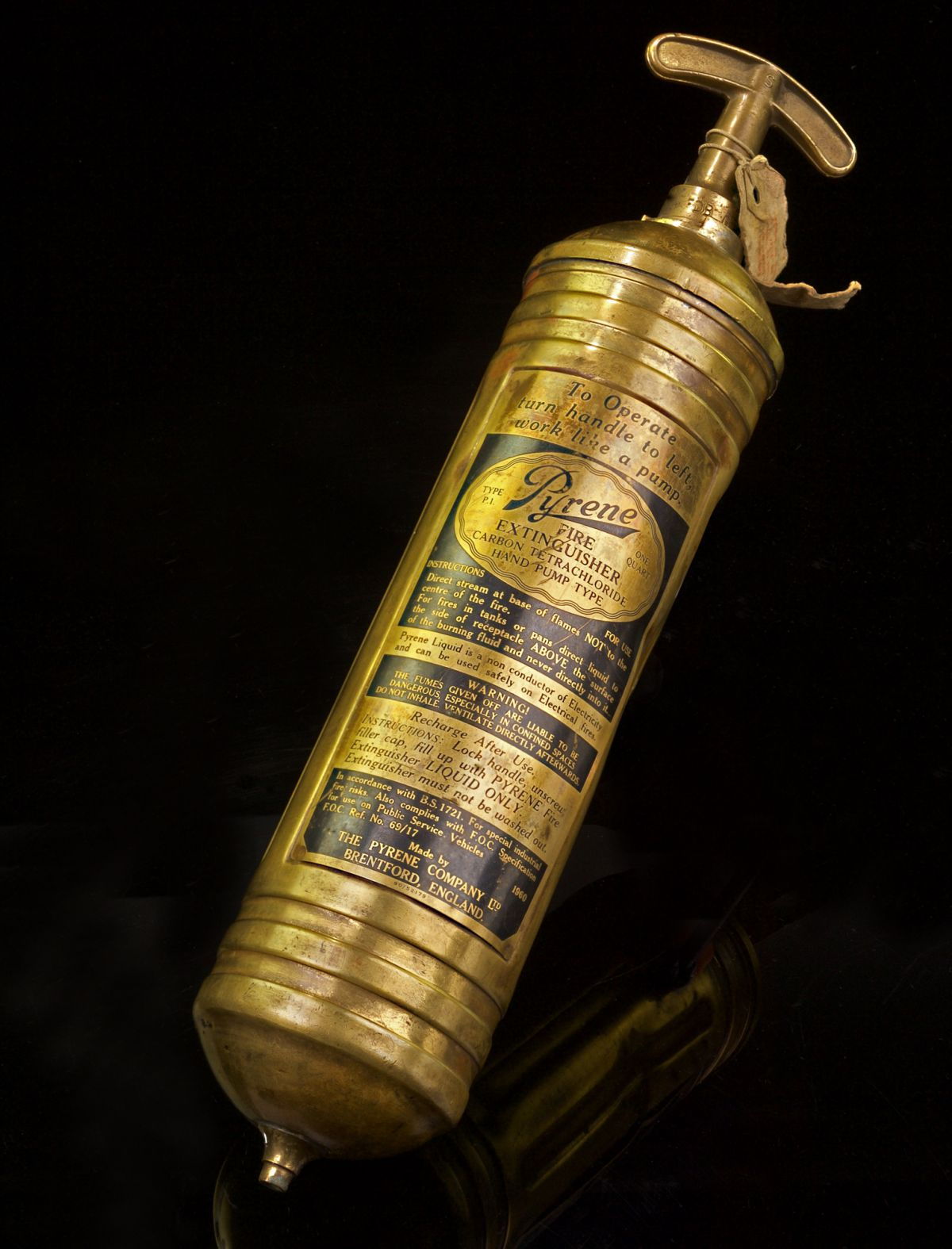 LATER PRODUCTION RUN MODEL OF THE PYRENE TYPE P-1 PORTABLE FIRE EXTINGUISHER AS USED ABOARD THE AVRO LANCASTER