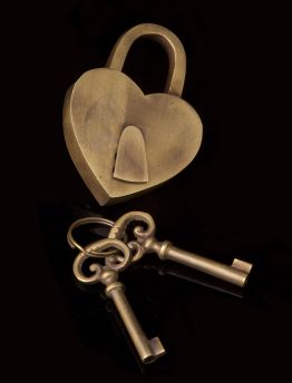 Solid Brass Love Heart Lock