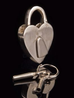 Brushed Steel Love Heart Heart Lock