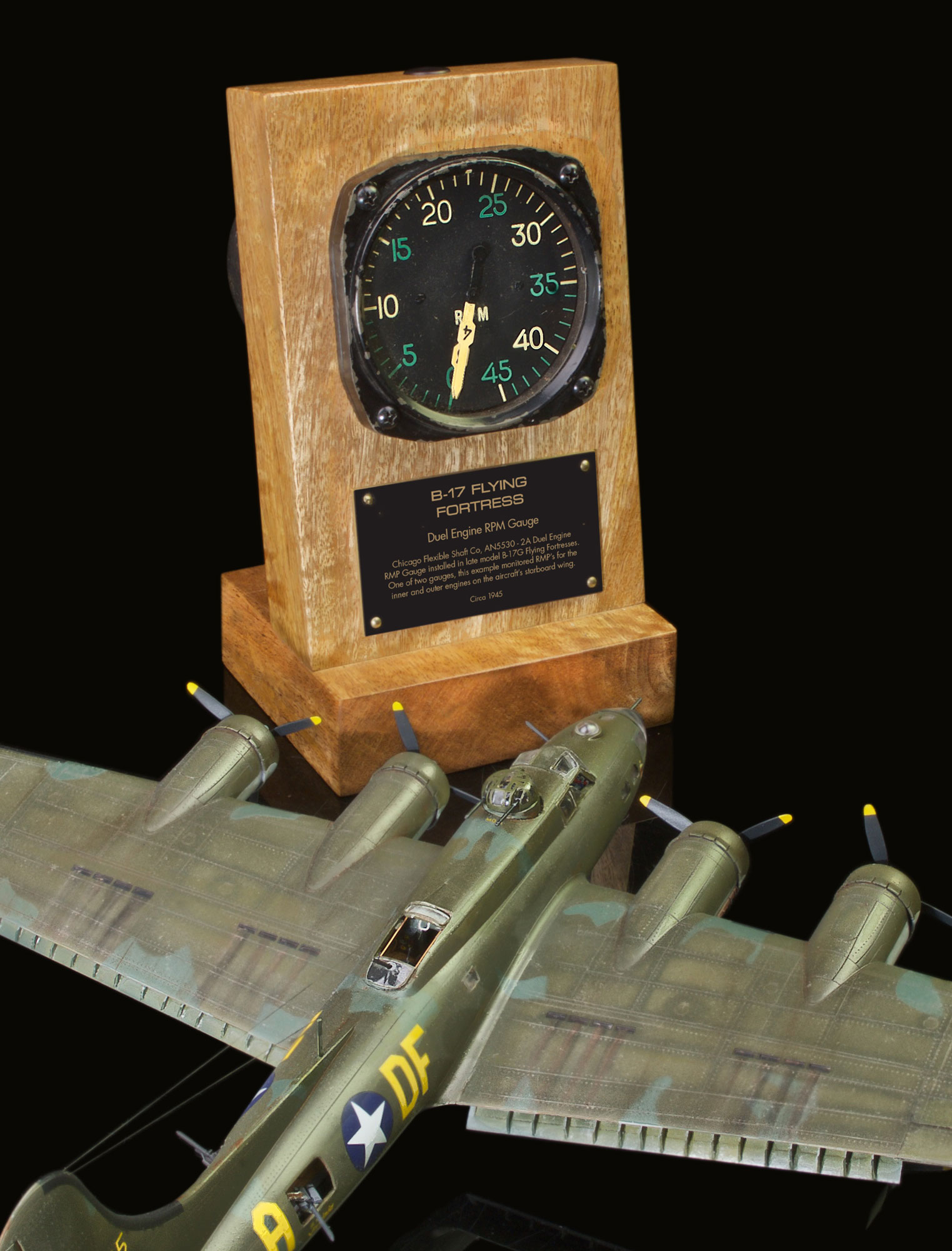 B-17 AN5530 - 2A DUEL ENGINE RPM GAUGE