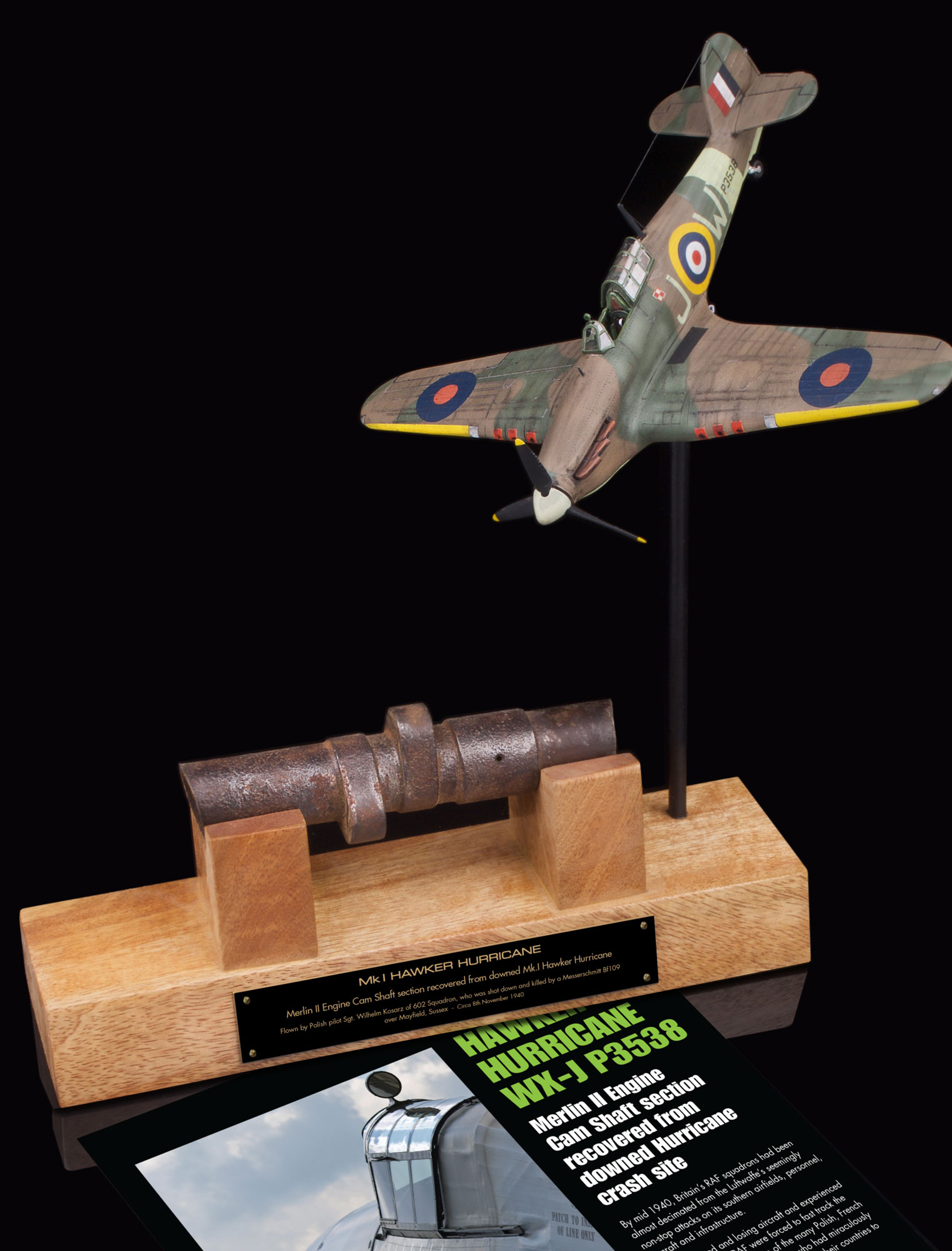 MERLIN II CAM SHAFT SECTION RELIC FROM DOWNED BATTLE OF BRITAIN POLISH HAWKER HURRICANE P3538 WX-J