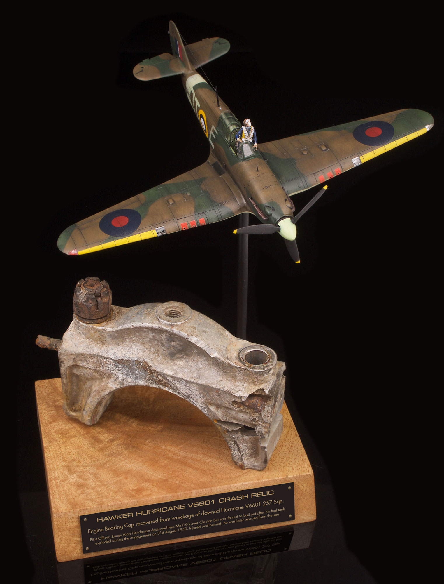 HAWKER HURRICANE ENGINE BEARING CAP FROM BATTLE OF BRITAIN CRASH WRECKAGE OF HURRICANE DT-E V6601