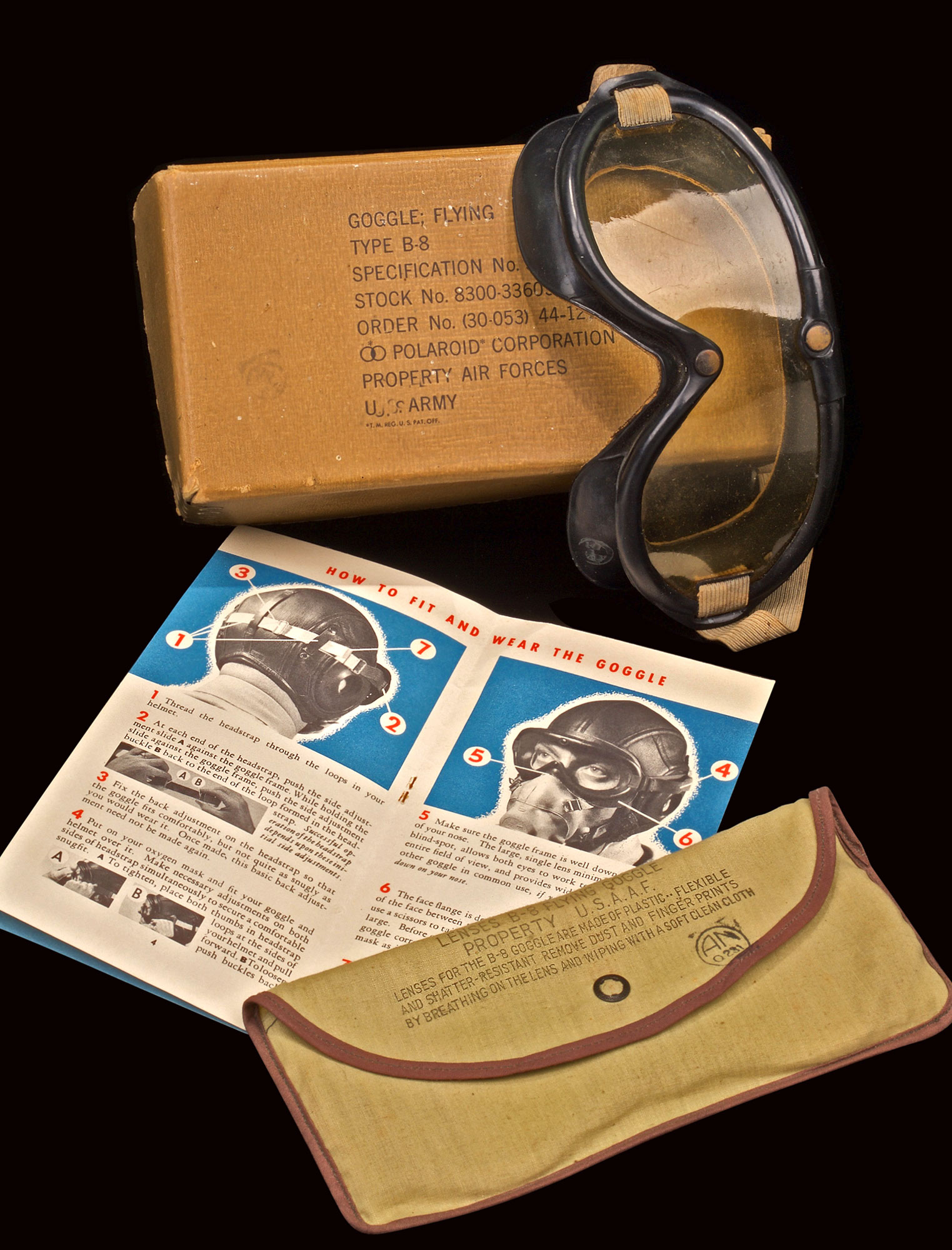 P-47 THUNDERBOLT TYPE B-8 POLAROID FLYING GOGGLES