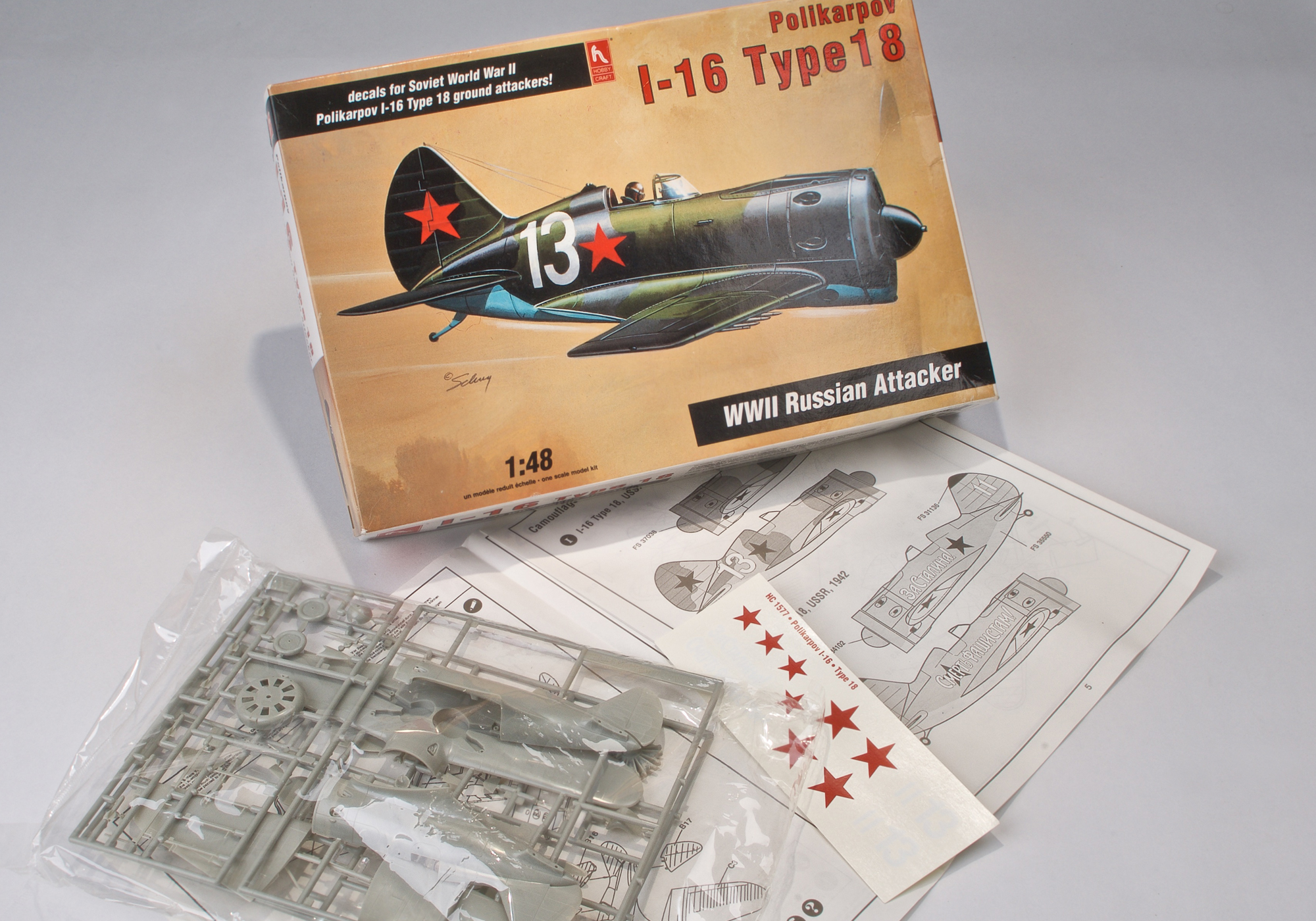 POLIKARPV 1-16 WWII SOVIET ATTACK FIGHTER - 1/48 scale vintage model kit