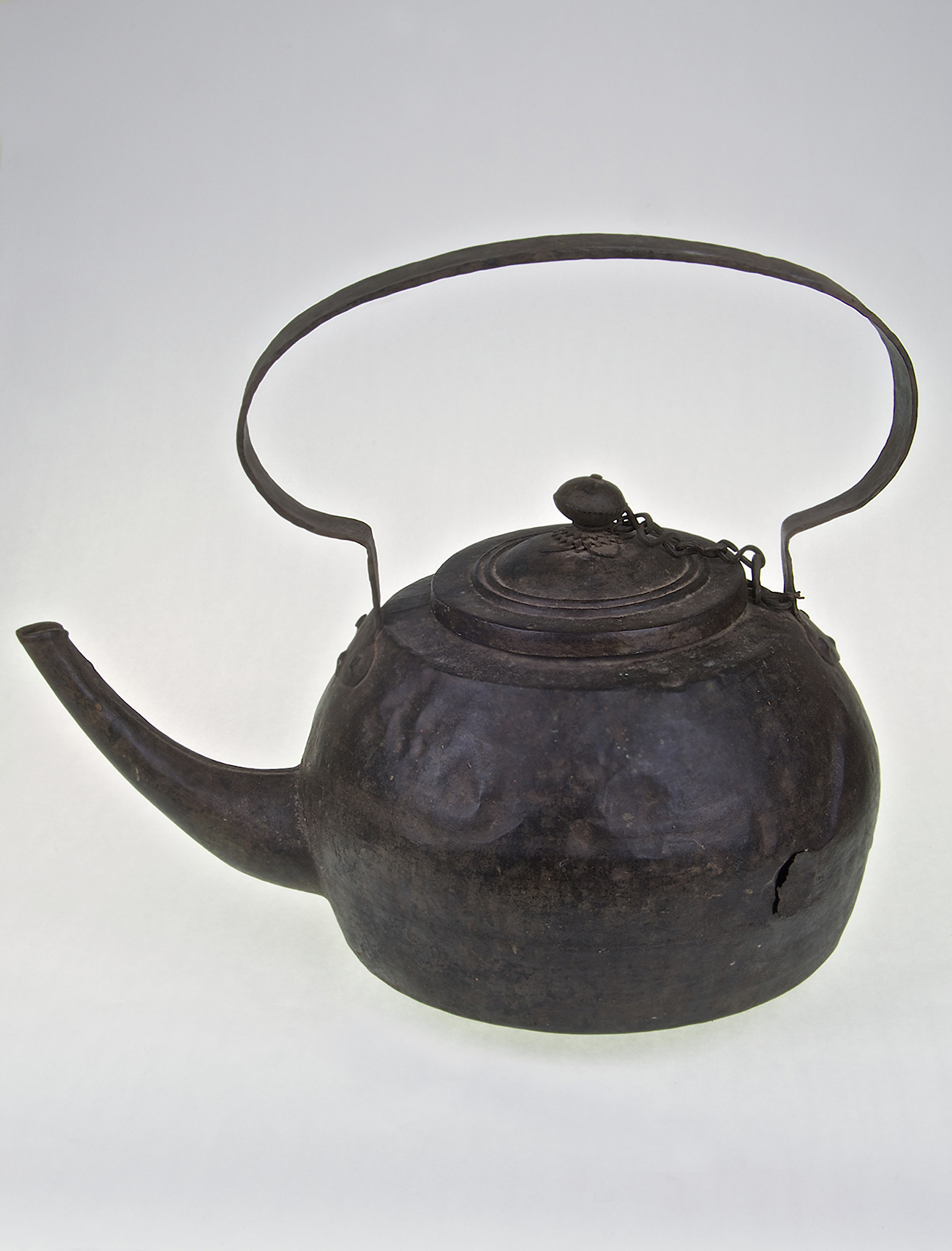 Large Hand Beaten Iron Chinese Kettle