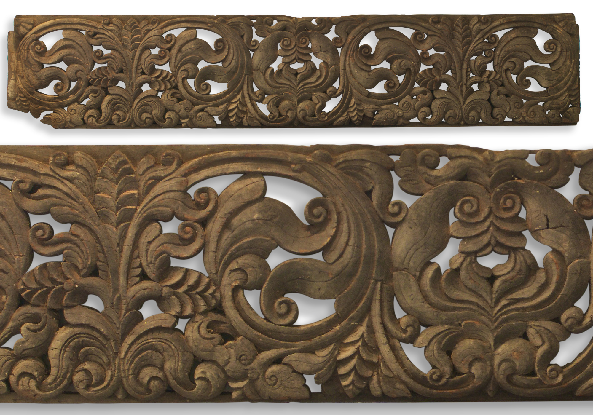 Vintage javanese hand carved floral decorative wall panel